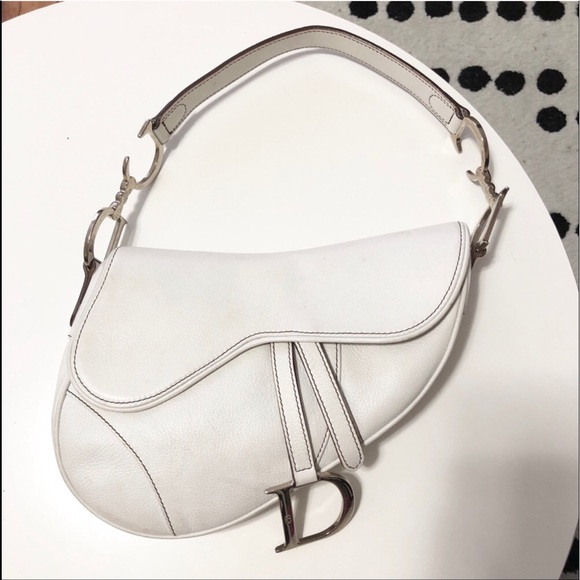 910437ff561b Dior Handbags - Vintage Dior White Leather Saddle Bag